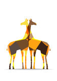 Origami paper giraffes silhouettes Royalty Free Stock Photography