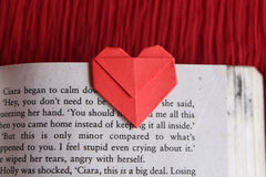 Origami paper heart bookmark Royalty Free Stock Image
