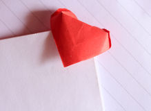 Origami paper heart bookmark Royalty Free Stock Photo