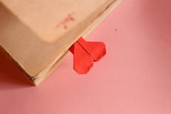 Origami paper heart bookmark Stock Photo