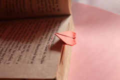 Origami paper heart bookmark Stock Image