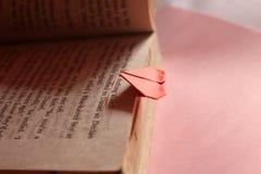 Origami paper heart bookmark Stock Image