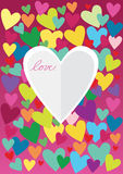 Origami paper heart on crazy colorful background Stock Photos