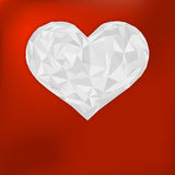Origami paper heart on red. + EPS8 Royalty Free Stock Photos