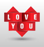 Origami paper heart shape with love you. Royalty Free Stock Photography