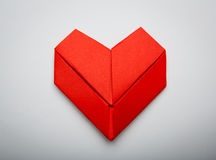 Origami paper heart shape symbol for Valentines day Stock Photos