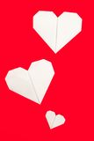Origami Paper Heart Shapes Stock Photography