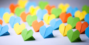 Origami paper hearts. Hand made origami paper hearts Stock Photo