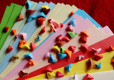 Origami paper hearts Stock Image