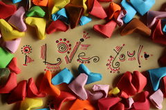 Origami paper hearts Stock Images