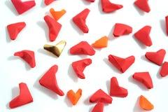 Origami paper hearts Stock Photo