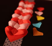 Origami paper hearts Stock Photos