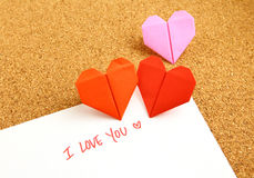 Origami paper hearts with message Royalty Free Stock Photo