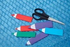 Origami paper pensil stock image
