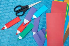 Origami paper pensil stock photos