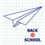 Origami paper plane Handdrawn doodle Paper sheet Royalty Free Stock Images