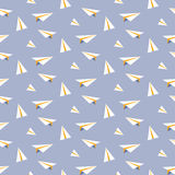 Origami paper plane seamless vector pattern. Stock Photo