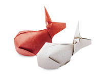 Origami paper rabbits Royalty Free Stock Image