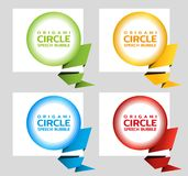 Origami paper round banner. Sale banner set template design. Special offer. Discount tag, badge, emblem. Web stickers vector illustration