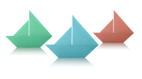 Origami Paper Sailing Boats Stock Image