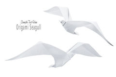Origami paper seagull bird. Origami paper freedom isolated seagull birds on a white background Royalty Free Stock Photo