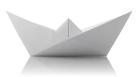 Origami of paper ship. On white background Stock Photography