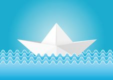 Origami paper ship in abstract waves Stock Photos