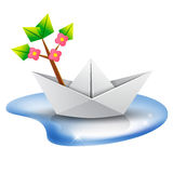 Origami paper ship with a green tree. Vector illustration. Paper boat with a blossom tree branch aboard sailing in a puddle of water Stock Image