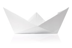 Origami paper ship isolated. On white Royalty Free Stock Photography