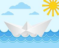 Origami paper ship on ocean waves. Vector Stock Photo