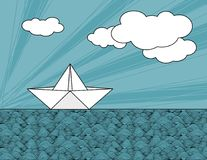 Origami paper ship on sea waves. Vector illustration Stock Photo