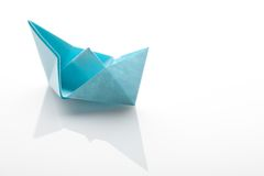 Origami paper ship on white background Royalty Free Stock Photos