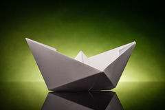 Origami paper ship Stock Image