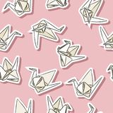 Origami paper swan hand drawn stickers seamless pattern in pastel colors stock illustration