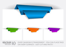 Origami Paper tag with TRANSPARENT shadows. Royalty Free Stock Image