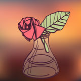 Origami paper vintage style rose handmade drawing. Royalty Free Stock Photos