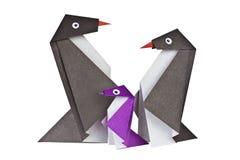 Origami. Papier postacie pingwiny Zdjęcia Royalty Free