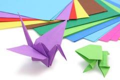 Origami Papier und Abbildungen Stockfoto