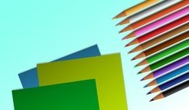 Origami papierowi i barwioni ołówki royalty ilustracja