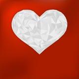 Origami papierowy serce na czerwieni. + EPS8 Zdjęcia Royalty Free