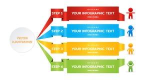 Origami papieru zespół 4 kroka, opcje, sceny, części dla biznesowy infographic Kolorowy liczący sztandaru szablon