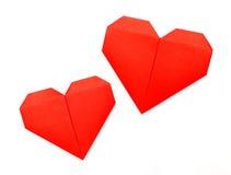 Origami pappers- hjärta Arkivbild