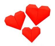 Origami pappers- hjärta Fotografering för Bildbyråer