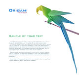 Origami parrot on a branch. Corner corner decoration Royalty Free Stock Photography