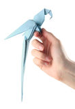 Origami parrot on hand. Origami blue parrot sitting on the hand Royalty Free Stock Image