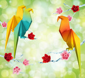 Origami parrots Royalty Free Stock Photography