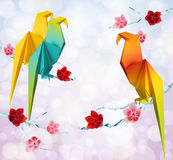 Origami parrots Royalty Free Stock Images