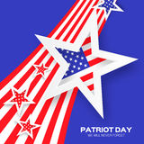 Origami Patriot Day on blue background with stars and stripes. Royalty Free Stock Photography