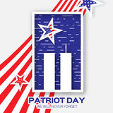 Origami Patriot Day on grey background. Twin Tower with rectangle frame. Royalty Free Stock Photos