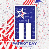 Origami Patriot Day. Twin Tower with rectangle frame on grey background. Abstract american flag. Stars and stripes. We will never forget. September 11, 2001 Stock Photo